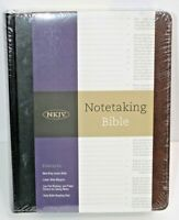 NKJV Notetaking Bible Bonded Leather Black Brown Word of Jesus in Red Holman New