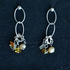 Sterling silver drop earrings, long silver earrings, pearls and gemstone (V393)