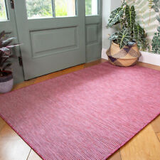 Plain Rasberry Red Outdoor Rug Plastic Flat Washable Rugs Zero Pile Hall Runners