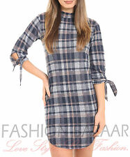 Womens Hi Neck Tie Knot Arm Checked Tartan Print Shift Dress Party Top Xmas Gift
