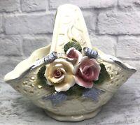 Vintage Off-White Ceramic Basket Planter Vase VICTORIAN COLLECT Roses Lattice