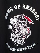 L black T Shirt AFGHANISTAN SKULL anarchy BAGRAM fire ASSAULT rifle GUN war HERO