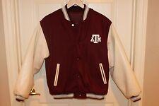 Womens TEXAS A&M Maroon Wool White Pleather Varsity Letterman Bomber Jacket M
