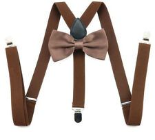 Coffee Brown Pre-tied Bow Tie Braces Suspenders Set Matching Formal Fashion