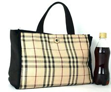 Authentic Burberry London Nova Check Cotton Canvas Tote Hand Bag Purse Italy