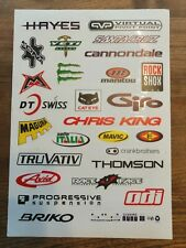 MOUNTAIN BIKE STICKER SHEET A4 GRAPHICS DECALS RACEFACE THOMSON MAGURA ROCK SHOX