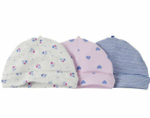 Carters Baby girls hat beanie caps size 0-3 months hearts flowers set of three N