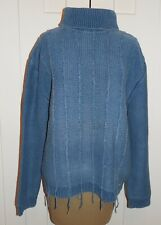 BLUE WILLI'S Indigo Dyed Cotton Cable Turtleneck Sweater Fringe - XL