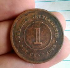 More details for straits settlement 1895 1 cent one victoria queen british india bronze km 16