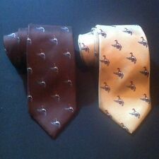 Cambridge Classics NECK TIE Pair Tan Brown Flying Ducks Pattern 100% Silk EUC