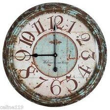 "Turquoise Round Metal Wall Clock Farmhouse Cottage Cabin Home Decor 24"" D"
