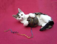 METAL MAGNET Black White Cat Playing With Knit Crochet Yarn Cats MAGNET