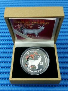 2003 Vietnam 10,000 Dong Lunar Year of the Goat Silver Proof Coin with Box & COA