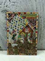 """ACEO Artist Trading Card """"Ginger Man Cookies"""" Handmade Stickers & Glitter"""