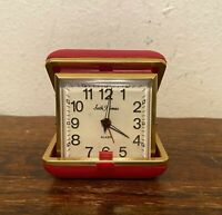 Vintage Seth Thomas Wind-Up Travel Alarm Clock in Red Case - Taiwan