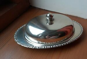 Small Oval Vintage Epns Butter Dish With Dome Lid Vtg/Retro Collectable/Usable