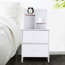 Bedside Table Bedroom Cabinet Organizer Night Stand 2 Drawer Shelf Storage UK