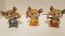 Homco Home Interiors Mice Porcelain Set of 3 Harvest Corn Carrot Cheese 5601