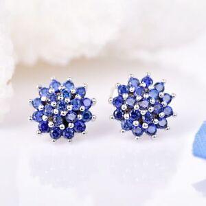 18K White Gold Sapphire Blue Crystal Cluster Stud Earrings    328