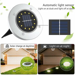 8 LED Solar Power Ground Lights Floor Decking Outdoor Garden Lawn Path Lamp