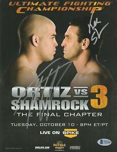 TITO ORTIZ KEN SHAMROCK SIGNED AUTO'D MINI POSTER BAS COA UFC 3 CHAMPION PRIDE