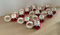 Set of 12 Santa Claus Christmas Napkin Rings Ceramic Vintage