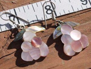 Vintage   Alpaca  Mexico    shell      Earrings     Mexico