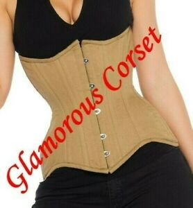 "Curvy Corset for Waist Training 100% Cotton Steel Boned Underbust Size 30"""