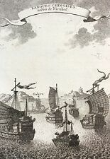 Chine barques Chinoises tirées de Nieuhof gravure engraving 1750 Asie Asia China