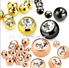 5pcs. 16G 14G Titanium IP Steel Threaded Replacement Gem Ball Body Jewelry Parts