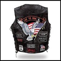 Gilet en cuir jacket blouson Aigle / Live To Ride -  Grande taille ! S à 7XL