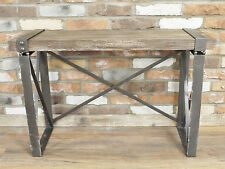 Industrial Metal Brown Wood Effect Coffee Side End Hall Console Table 94cm
