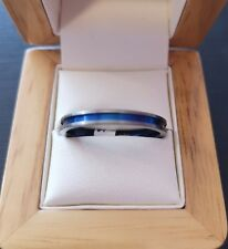 ***REDUCED*** Mens thin titanium band with blue detail - Size X