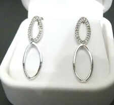 LONG DROP WHITE GOLD DIAMOND EARRINGS- ESTATE SALE- CLEARANCE SALE- CLOSE OUT