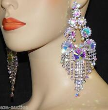 SILVER AB IRIDESCENT RHINESTONE CRYSTAL BRIDAL PARTY JEWELRY CHANDELIER EARRINGS