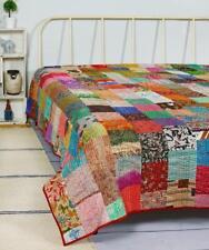 """Handmade Vintage Silk Patchwork Kantha Embroidered Quilt Throw Bedspread 60""""x90"""""""