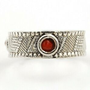 Natural Red Coral 925 Sterling Silver Ring Jewelry Sz 8.5, ED18-2