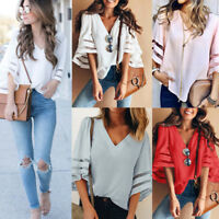 Fashion Women Bell Flare Sleeve Blouse Casual Boho Loose Tops T-Shirt 8Colours