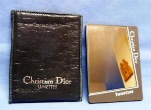 CHRISTIAN DIOR LUNETTES POCKET MIRROR IN  DARK GRAY LEATHER CASE
