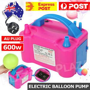 Electric Balloon Pump Ballon Inflator 600W Power 2 Nozzles Portable AU Plug