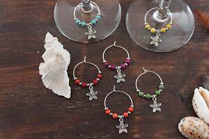 Wine Glass Rings Pretty Multi-Coloured Small Flower Handmade Rings Set of 6