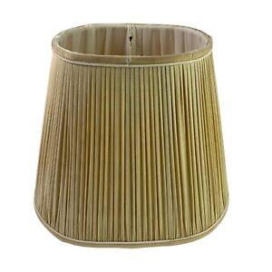 "Vintage Cream Pleated Shot Silk Lamp Light Shade Velvet Trim 10""H 12""L 5""W"