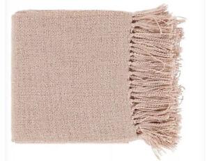 Surya Throw Blanket, Pale Pink Gold $65