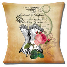"""French Country Cushion Cover 16""""x16"""" 40cm Vintage Retro Corset Peony Fob Watch"""
