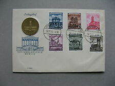 GERMANY DDR, coin cover FDC1955,  rebuild historic buildings, coin 5M