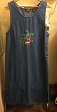 NWT AGAPO Long Denim Jumper Dress -  Size M  Embroidered Christmas Holly & Balls