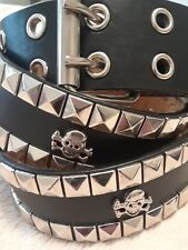 XL Skull & Crossbones Belt Goth Silver Metal Studs Black Leather