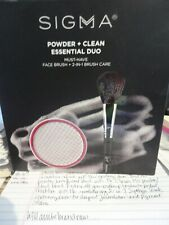 Sigma Beauty Powder & Clean Essential Duo Face Brush + 2 in 1 Brush Case Mint
