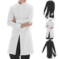INCERUN Men's Indian Kurta 100% Cotton Formal Shirt Long Sleeve Kaftan Top Tee