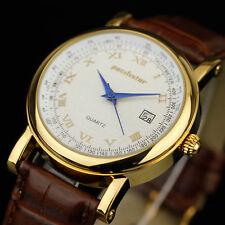 Pacifistor señores señora reloj reloj de pulsera cuero retro marrón unisex elegante de lujo